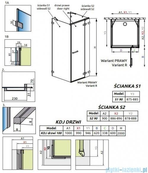 Radaway Euphoria KDJ+S Kabina przyścienna 90x100x90 prawa szkło przejrzyste rysunek techniczny