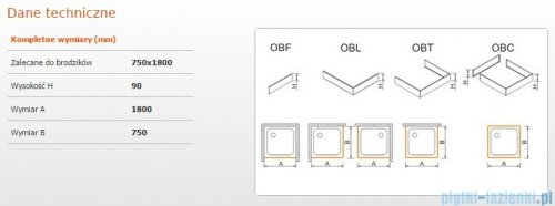 Sanplast Obudowa brodzika OBL 75x180x9 cm 625-400-1310-01-000