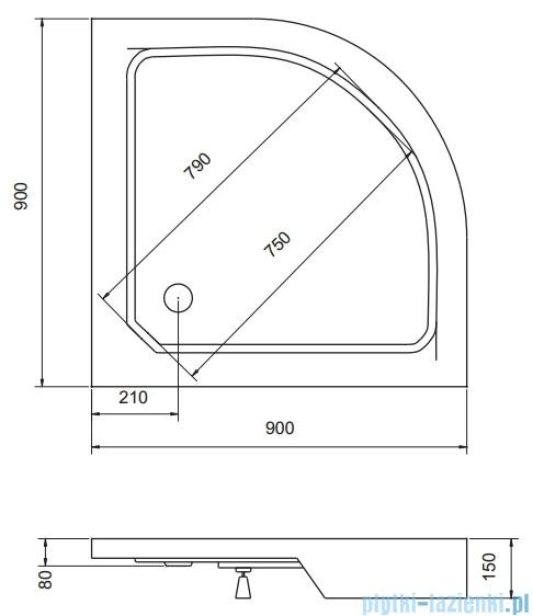 Piramida Alex Brodzik 90x90cm półokrągły ze zintegrowaną obudową BAA-90