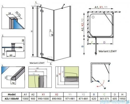 Radaway Almatea Kdj Gold kabina prysznicowa 100x90 lewa szkło przejrzyste 32143-09-01NL