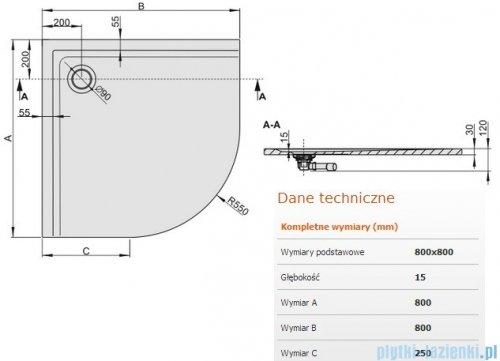 Sanplast Space Mineral brodzik półokrągły z powłoką 80x80x1,5cm+syfon 645-290-0420-01-002