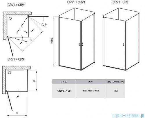 Ravak Chrome CRV1 drzwi prysznicowe 1/2 100cm aluminium transparent 1QVA0C01Z1
