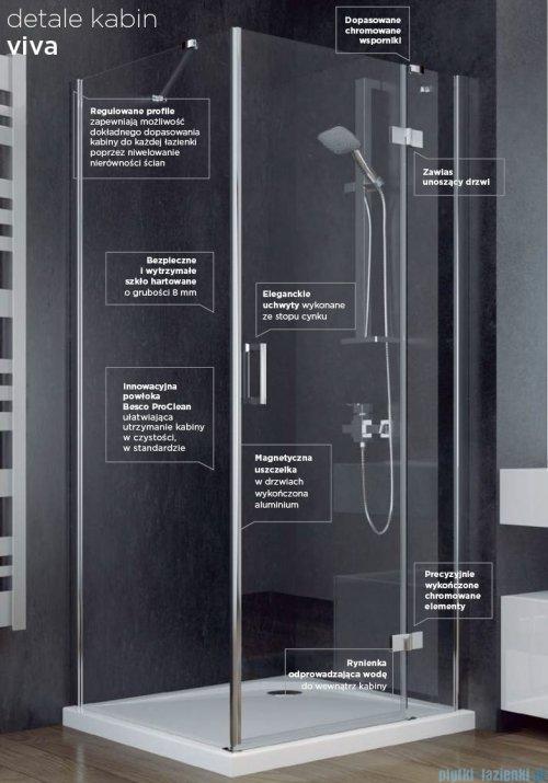 Besco Viva kabina kwadratowa z brodzikiem i syfonem 90x90cm przejrzyste VK-90-195-C/BAX-90-KW
