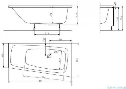 Koło Split wanna asymetryczna lewa 150x80cm XWA1651
