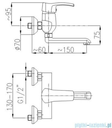 KFA Kwarc bateria umywalkowa ścienna, kolor chrom 4200-810-00