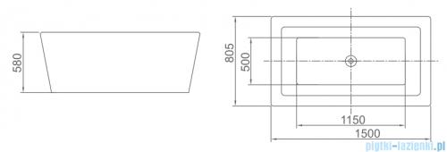 ScandiBath Hel wanna wolnostojąca 150x80cm + syfon wanna stojąca