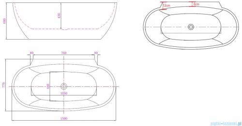 ScandiBath Mandal wanna wolnostojąca/przyścienna 150x77cm+ syfon klik-klak Q360S-1501