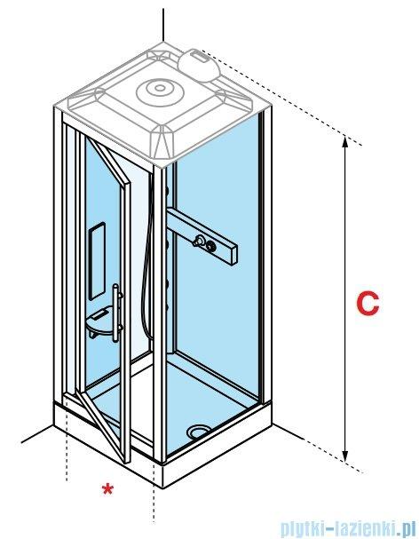 Novellini Glax 3 GF90 kabina z hydromasażem 90x90 chrom GL3GF99T1F-1K