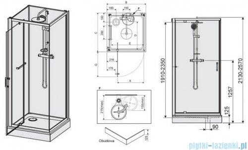 Sanplast Classic II kabina czterościenna kompletna KCDJ/CLIIa-90-S 90x90x210 cm przejrzysta 602-011-0131-38-4S1