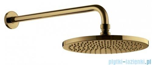 Omnires SlimLine AIR Deszczownica mosiężna 1-funkcyjna ø 25 cm z ramieniem złoto szczotkowane WGSET1GLB