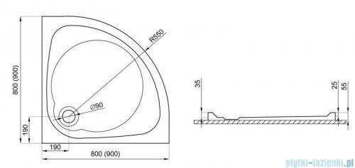 Polimat Nowy Styl brodzik półokrągły posadzkowy 80x80cm 00621