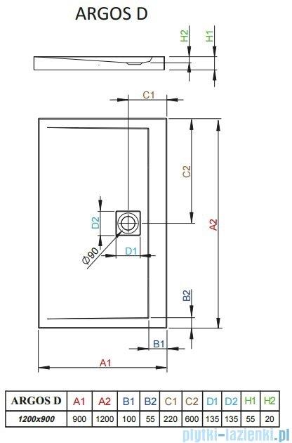 Radaway Brodzik prostokątny Argos D 120x90x5,5 cm 4AD912-01