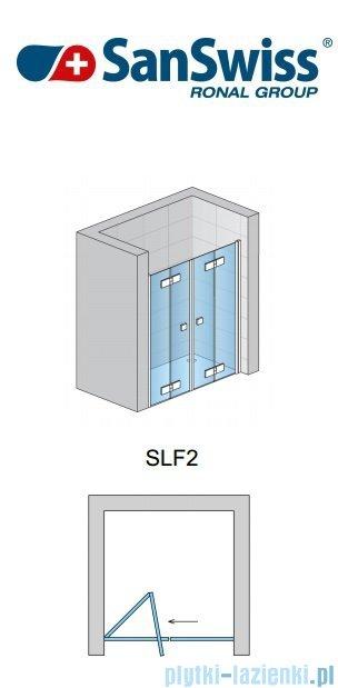 SanSwiss Swing Line F SLF2 Wejście narożne z drzwiami 90cm profil biały Lewe SLF2G09000407