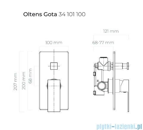 Oltens Gota bateria wannowo prysznicowa podtynkowa czarny mat 34101300