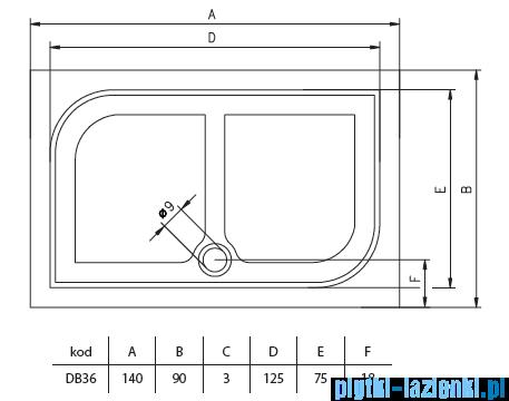 Riho Brodzik prostokątny Kolping 140x90x3 + nogi + syfon DB36