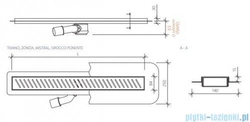 `Wiper New Premium Tivano Odpływ liniowy z kołnierzem 120 cm szlif rysunek techniczny