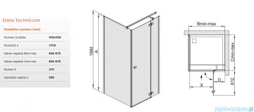 Sanplast kabina narożna kwadratowa KNDJ2/FREE-90 90x90x195 cm przejrzyste 600-260-0610-42-401