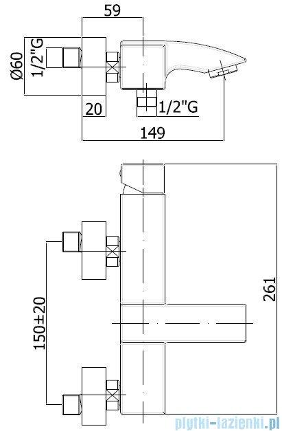 Paffoni Bateria wannowa Level Cubo chrom LEC022CR