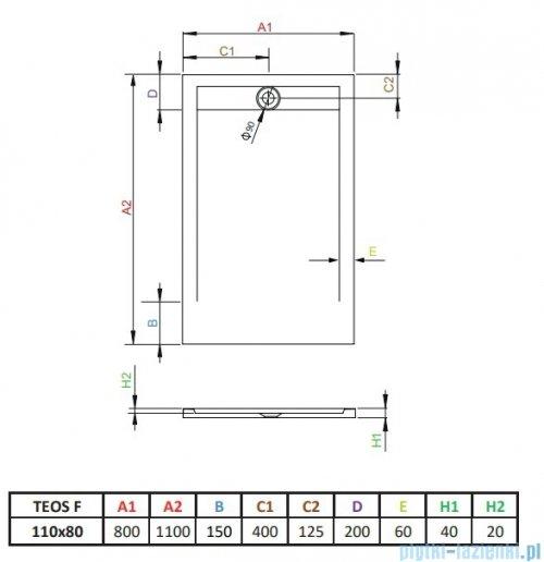 Radaway Teos F brodzik 110x80cm biały rysunek techniczny