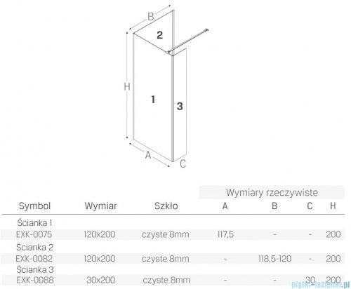 New Trendy New Modus Black kabina kwadratowa Walk-In 120x120cm przejrzyste EXK-0075/EXK-0082/EXK-0088