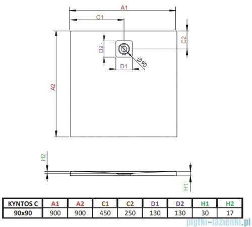 Radaway Kyntos C brodzik kwadratowy 90x90cm czarny HKC9090-54