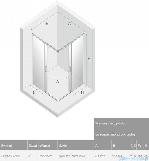 New Trendy Prime Black kabina prostokątna 100x70x200 cm przejrzyste D-0316A/D-0351A