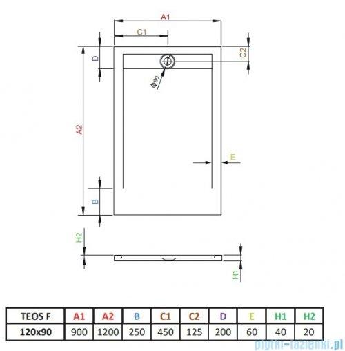 Radaway Teos F brodzik 120x90cm antracy rysunek techniczny