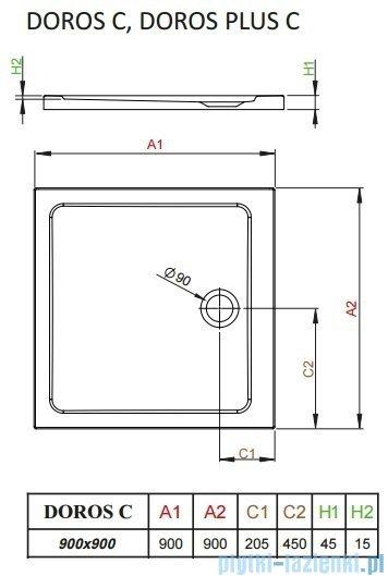 Radaway Fuenta New Kdj kabina 90x90cm prawa szkło przejrzyste + brodzik Doros C + syfon