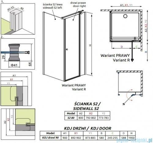 Radaway Eos II KDJ kabina prysznicowa 90x80 prawa szkło przejrzyste rysunek techniczny