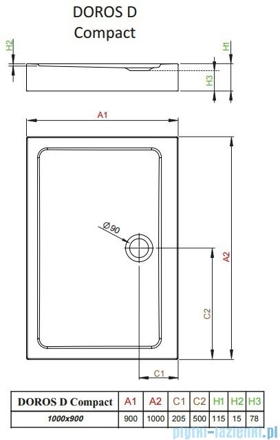 Radaway Doros D Compact brodzik prostokątny 100x90x11,5cm SDRD1090-05