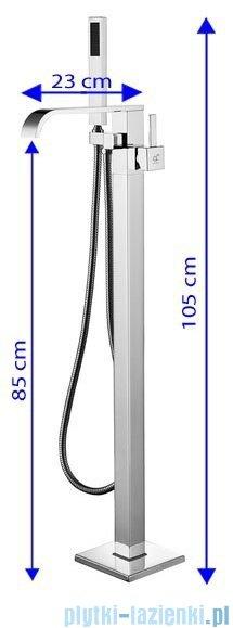 Rea Carat bateria wannowa wolnostojąca z zestawem natryskowym chrom REA-B1101