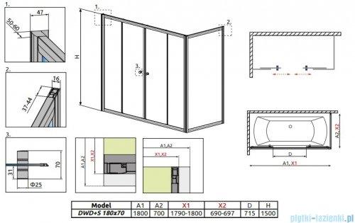 Radaway Vesta DWD+S Parawan nawannowy 180x70cm szkło fabric 203180-06/204070-06