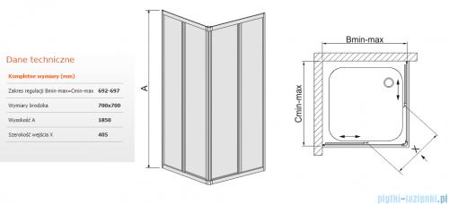 Sanplast kabina 70x70 narożna kwadratowa KNs-c-70 70x70x185 cm polistyren 600-013-0010-01-520