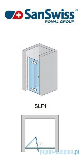 SanSwiss Swing Line F SLF1 Drzwi dwucześciowe 90cm profil biały Lewe SLF1G09000407