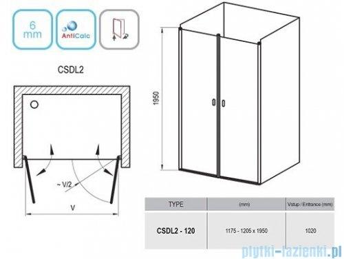 Ravak Chrome CSDL2 drzwi prysznicowe 120cm satyna transparent 0QVGCU0LZ1