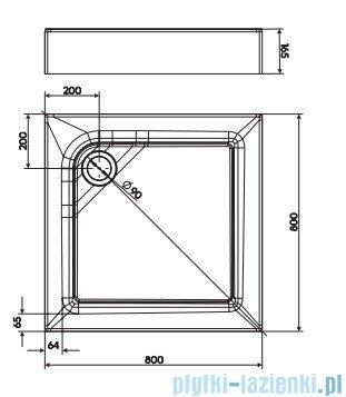 Koło First Brodzik kwadratowy 90cm ze zintegrowaną obudową XBK1690