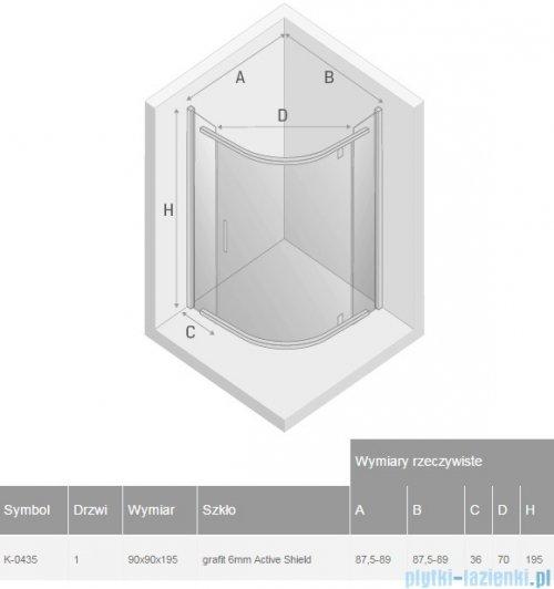 New Trendy New Komfort kabina półokrągła R55 90x90x195cm grafit K-0435