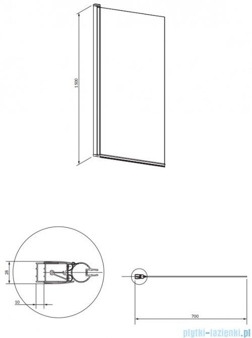 Omnires Kingston parawan nawannowy 1-częściowy 70x150 cm przejrzyste XHE85BLTR