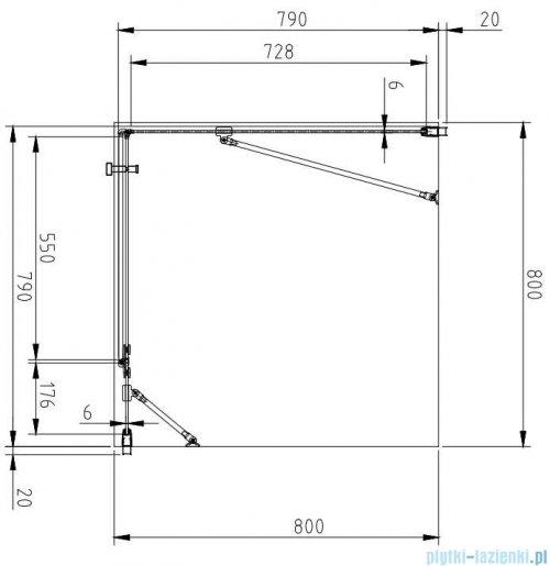 Omnires Manhattan kabina kwadratowa 80x80cm szkło przejrzyste rysunek techniczny
