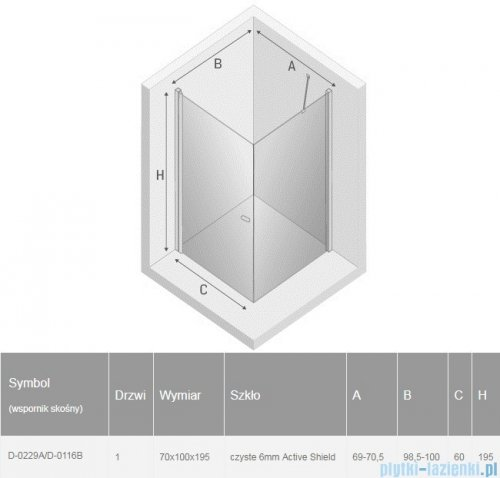 New Trendy New Soleo Black 70x100x195 cm kabina prostokątna wspornik skośny przejrzyste D-0229A/D-0116B