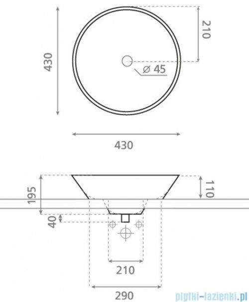 Bathco umywalka blatowa Napoles 43x19,5 cm 0046