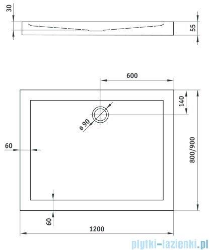 Deante Minimal Brodzik prostokątny 80x120cm KTN 044B