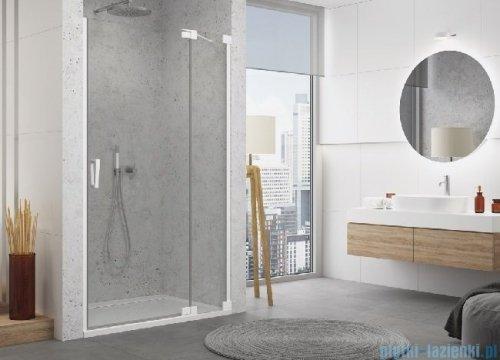 SanSwiss Cadura White Line drzwi wahadłowe 120cm jednoczęściowe prawe z polem stałym biały mat CA13D1200907