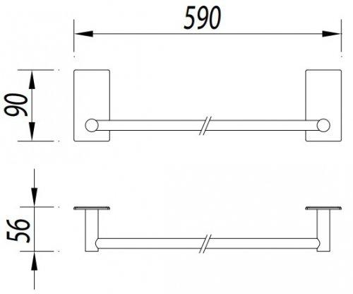 Omnires Strong Wieszak na ręcznik samoprzylepny 59 cm chrom ST30216CR