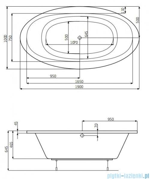 Roca Aura wanna 190x100cm z hydromasażem Smart WaterAir Plus A24T267000