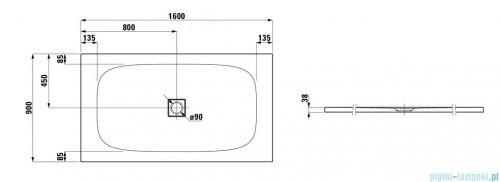 Laufen Solutions brodzik prostokątny 160x90cm biały H2154460000001