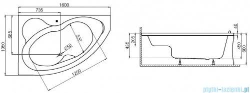 Polimat Mega wanna asymetryczna 160x105 prawa + obudowa + syfon 00229/00231/19975