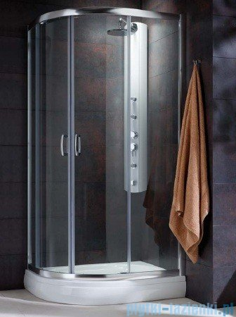 Radaway Premium Plus E Kabina prysznicowa 90x80 szkło fabric + brodzik Siros E Compact prawy + syfon