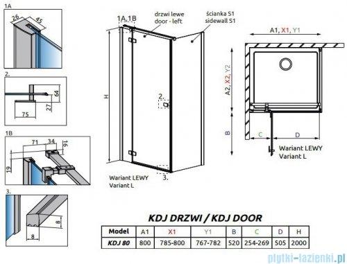 Radaway Fuenta New Kdj drzwi 80cm lewe szkło przejrzyste 384043-01-01L