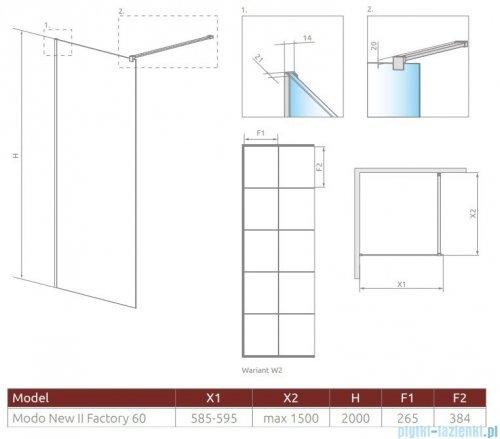 Radaway Modo New Black II 60x200 Factory kabina Walk-in rysunek techniczny